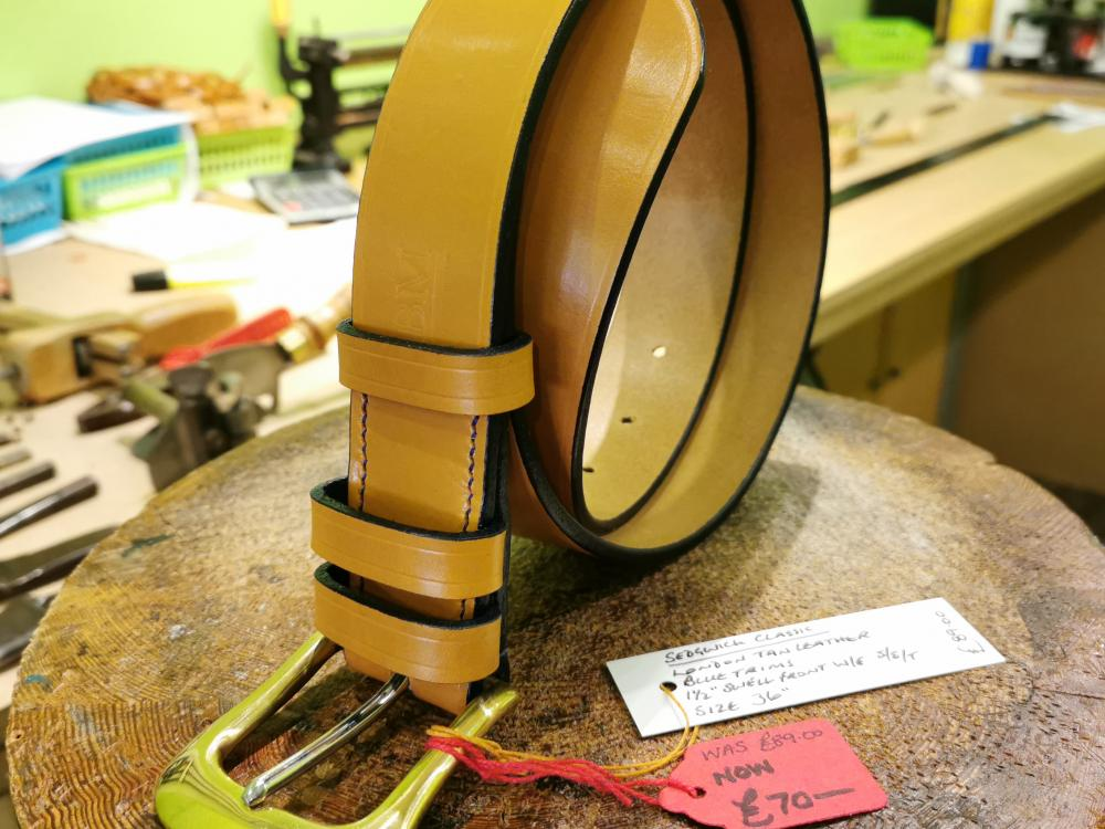 SOLD - SALE - Classic Belt, London Tan with Dark Blue detail - Was £89, Now £70