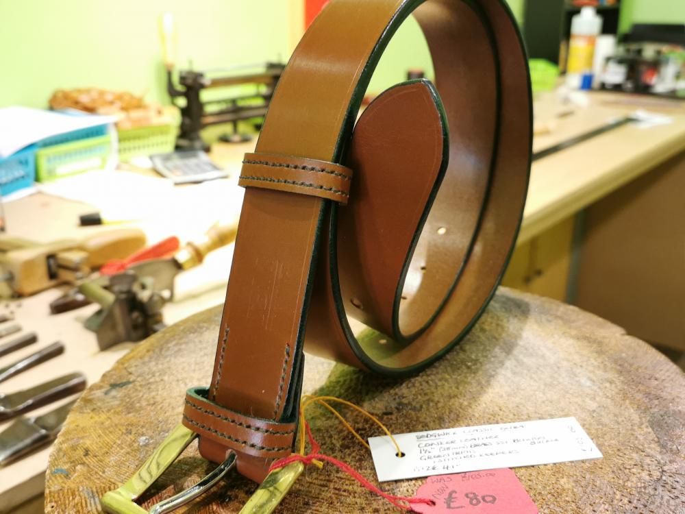 SALE - Classic Extra Belt, Conker with Dark Green detail - Was £105, Now £80