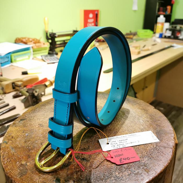 SALE - Classic Belt, Turquoise with Dark Blue detail - Was £79, Now £40