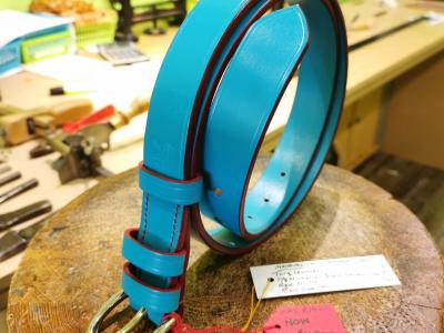 SOLD - SALE - Classic Belt, Turquoise with Red detail - Was £79, Now £40