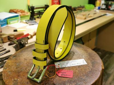 SALE - Classic Belt, Yellow with Dark Green detail - Was £79, Now £40