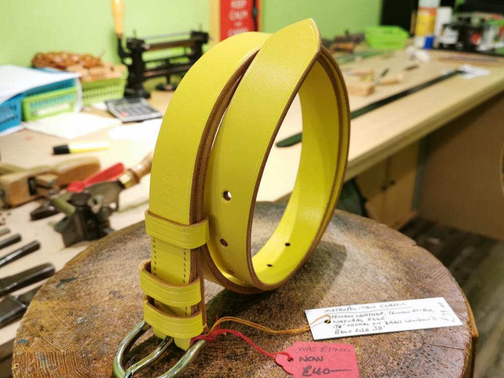 SOLD - SALE - Classic Belt, Yellow with Natural Edge detail - Was £79, Now £40