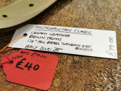 SOLD - SALE - Classic Belt, Cream with Dark Brown detail - Was £79, Now £40