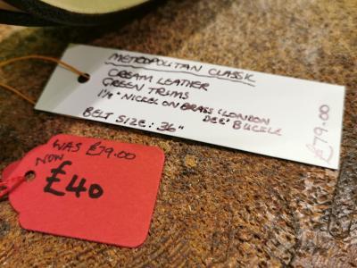 SALE - Classic Belt, Cream with Dark Green detail - Was £79, Now £40