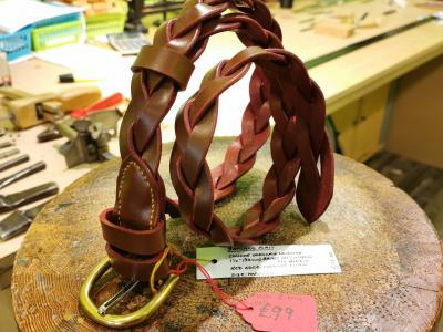 SALE - Plaited Belt, 3-Strand in Conker with Red detail - Was £175, Now £99