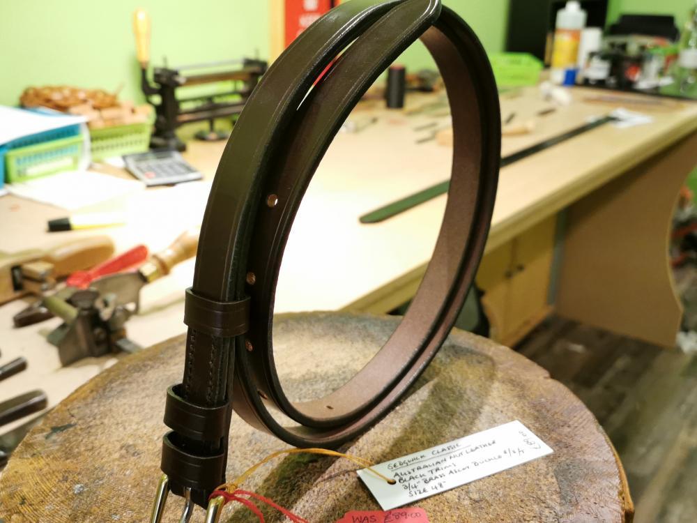 SALE - Classic Narrow Belt, Australian Nut with Black trims - Was £89, Now £70