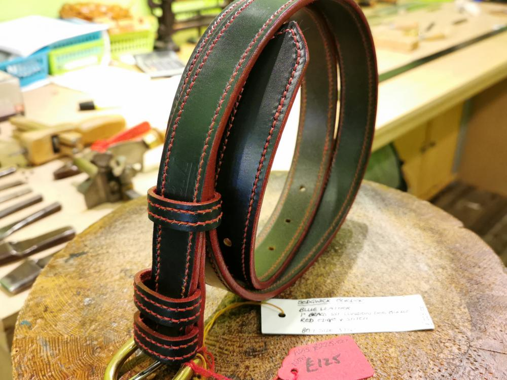 SALE - Single Border Belt, Dark Blue and Red - Was £225, Now £125
