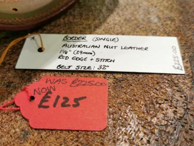 SOLD - SALE - Single Border Belt, Australian Nut and Red - Was £225, Now £125