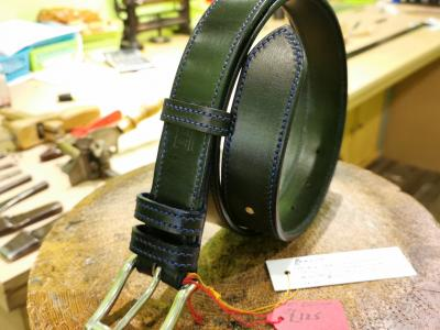 SOLD - SALE - Single Border Belt, Black and Dark Blue - Was £225, Now £125