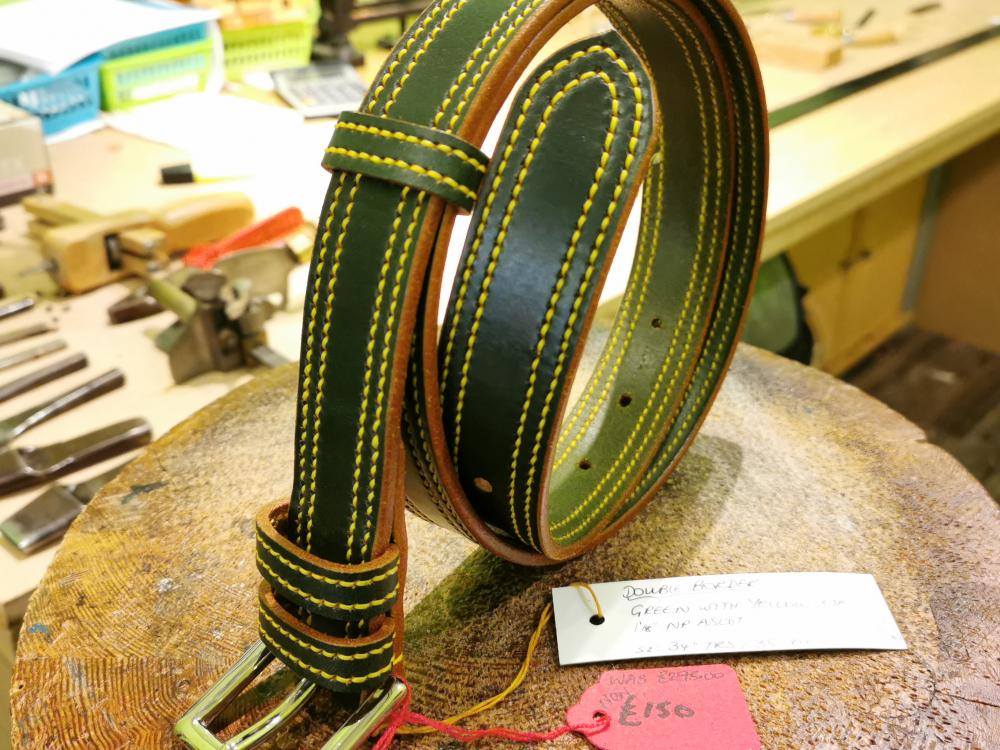 SALE - Double Border Belt, Dark Green and Yellow - Was £295, Now £150