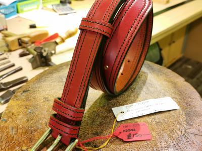 SALE - Double Border Belt, Red and Dark Green - Was £295, Now £150