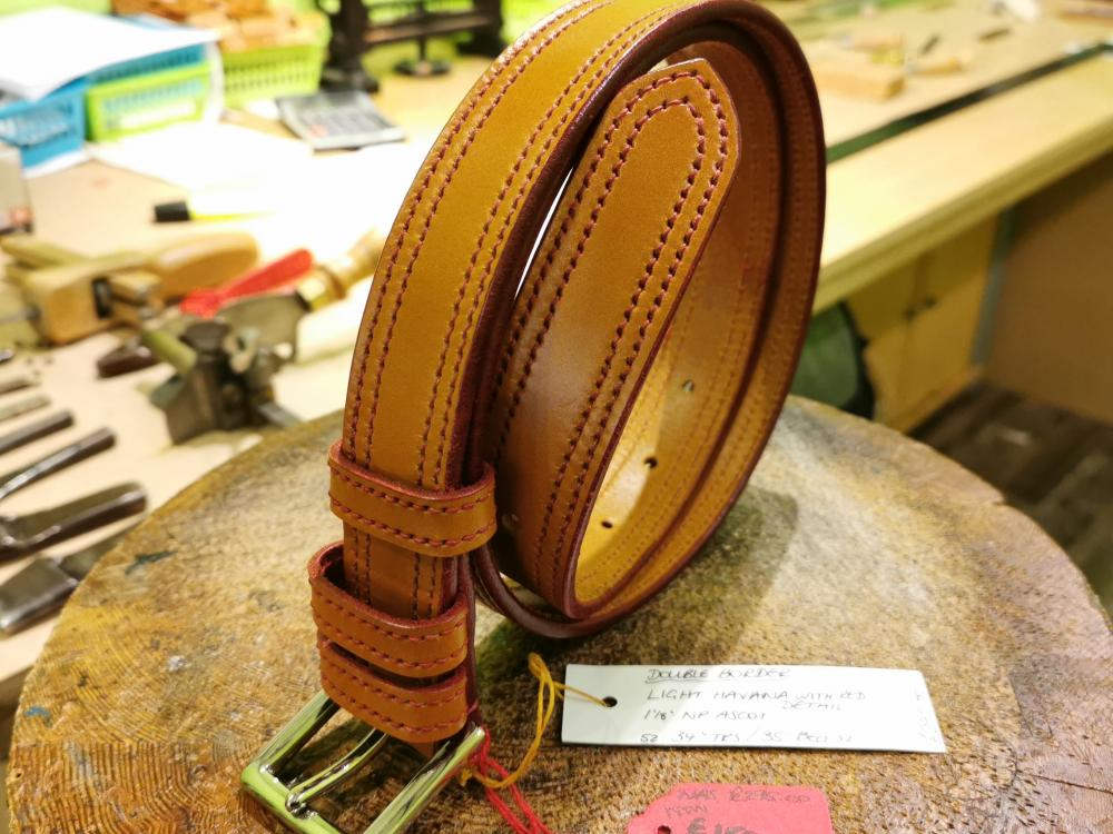 SALE - Double Border Belt, Light Havana and Red - Was £295, Now £150