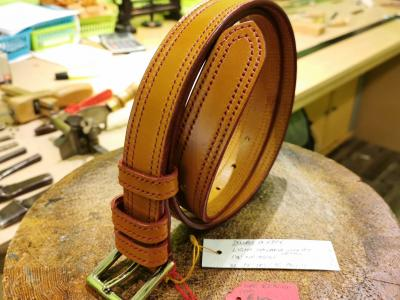SOLD - SALE - Double Border Belt, Light Havana and Red - Was £295, Now £150