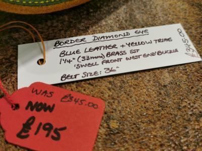 SOLD - SALE - Diamond Eye Border Belt, Dark Blue and Yellow - Was £345, Now £195