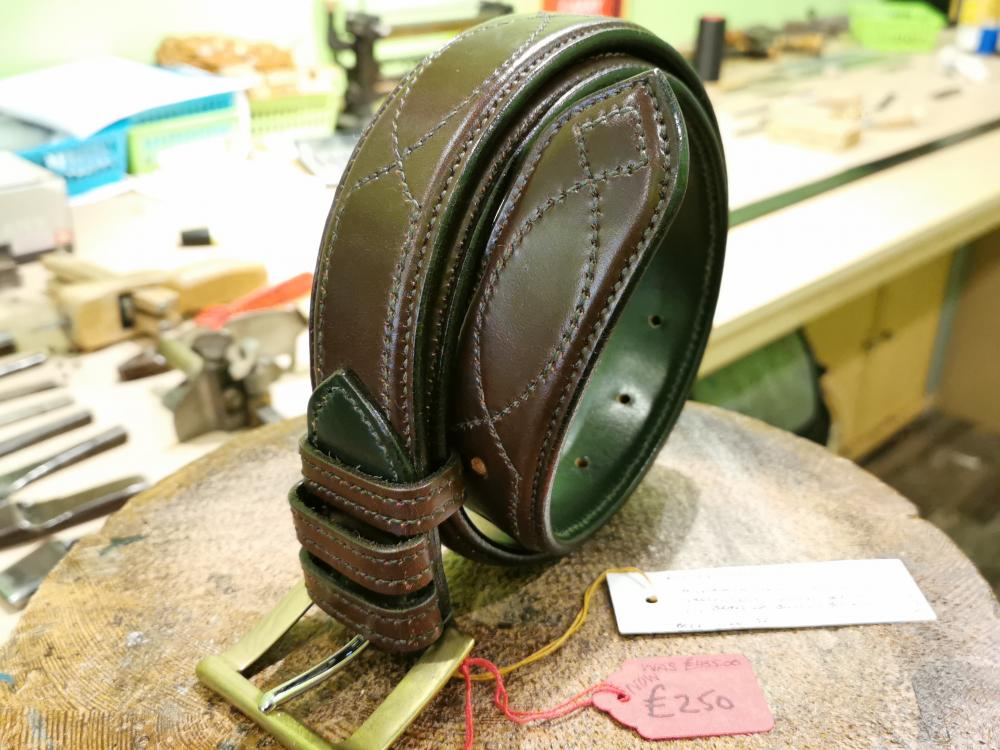 SOLD - SALE - Diamond Eye Raise Belt, Australian Nut and Dark Green - Was £455, Now £250
