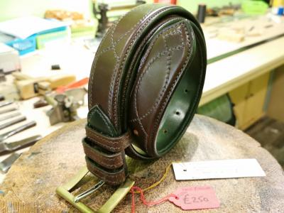 SOLD - SALE - Diamond Eye Raise Belt, Australian Nut and Dark Green - Was £455, Now £250