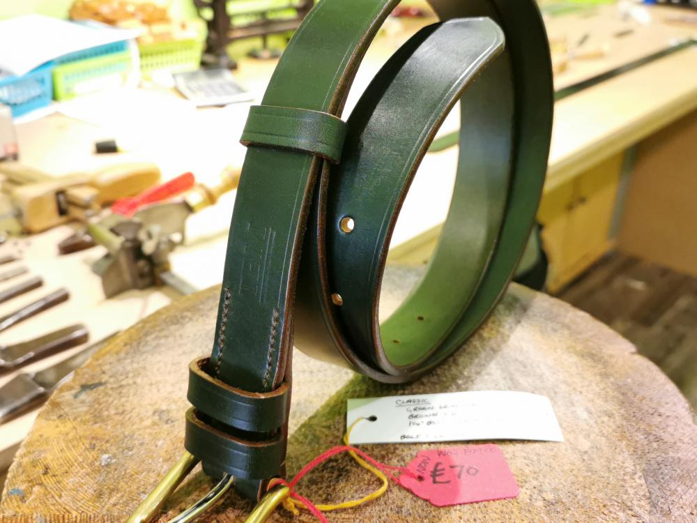 SOLD - SALE - Classic Belt, Dark Green with Brown trims - Was £89, Now £70