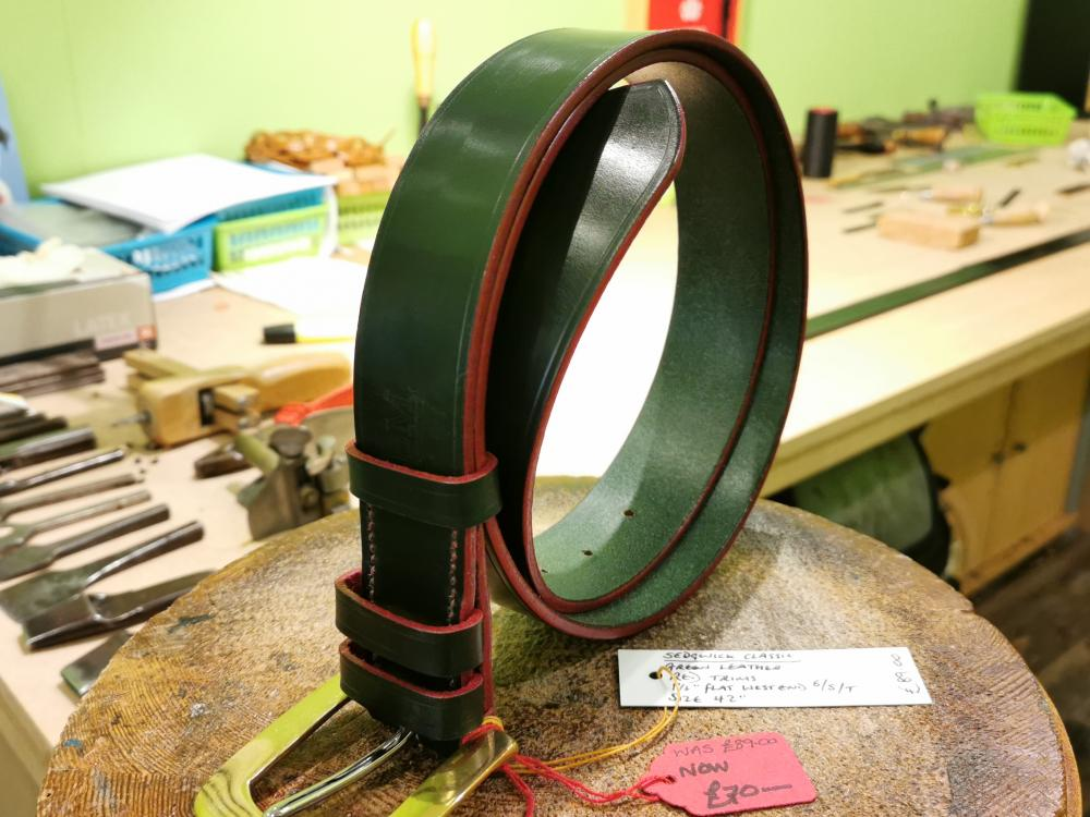 SALE - Classic Belt, Dark Green with Red trims - Was £89, Now £70