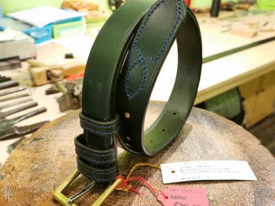 SOLD - SALE - Classic Plus Belt, Dark Green with Dark Blue detail - Was £129, Now £75