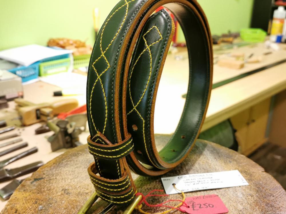SALE - Diamond Eye Raise Belt, Dark Green and Yellow - Was £455, Now £250