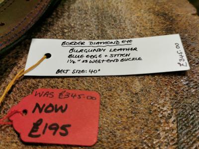 SOLD - SALE - Diamond Eye Border Belt, Burgundy and Dark Blue - Was £345, Now £195