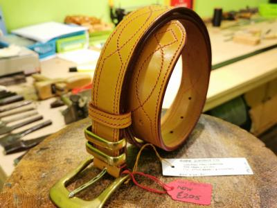 SOLD - SALE - Diamond Eye Border Belt with Metal Keepers, London Tan and Red - Was £355, Now £205