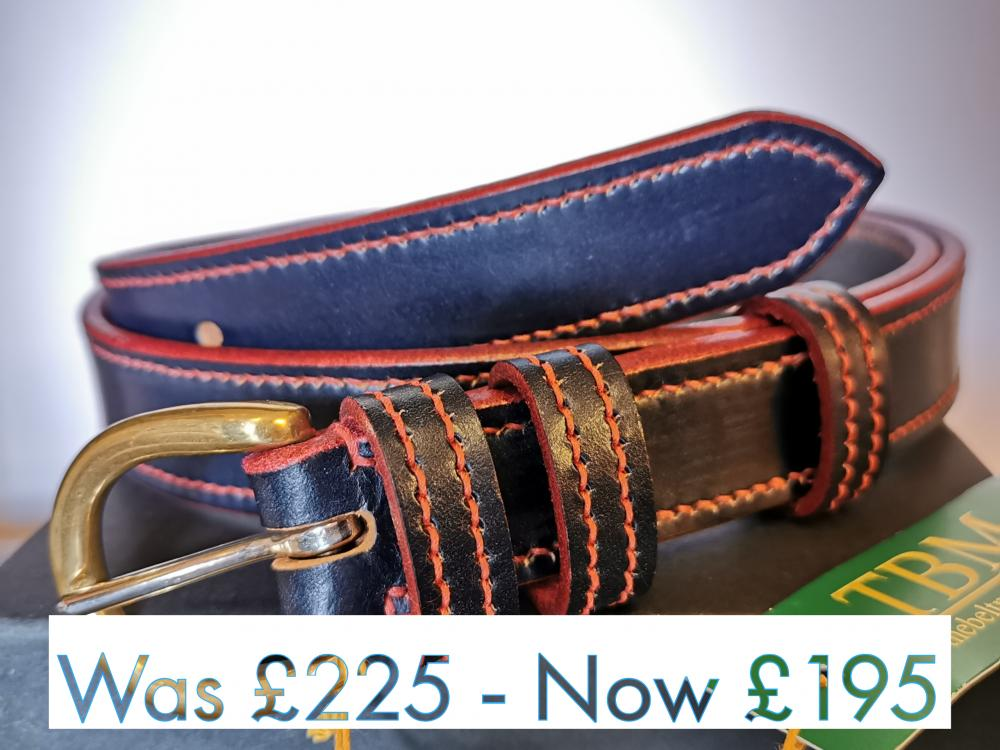 #SALE - Border Belt in Blue and Red (med)