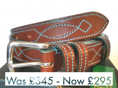 #SALE - Teal Trims: Border Diamond Eye in Conker and Teal (Limited Edition) (med)
