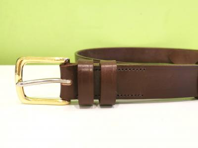 Classic Belt in Australian Nut and Brown with Brass Buckle