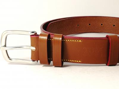 Classic Belt in Conker, Red and Yellow