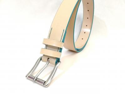Classic Belt in Cream and Turquoise
