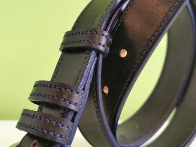 Border Belt in Black and Blue, Stainless Steel Roller Buckle
