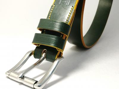Yellow Trims: Bold Classic Belt in Green and Yellow