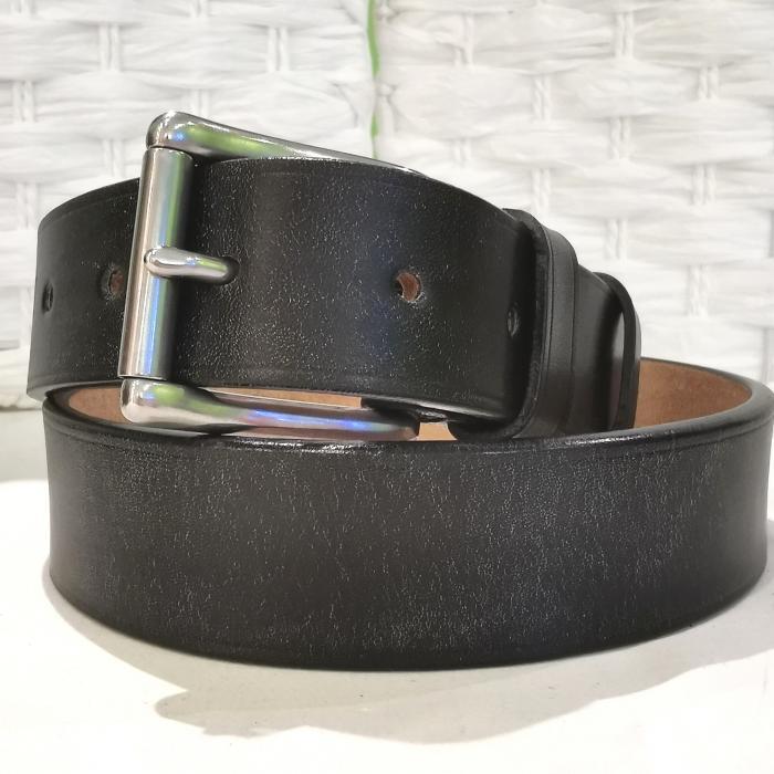 Classic Belt in Baker's Black Leather, 1½ inch wide roller buckle