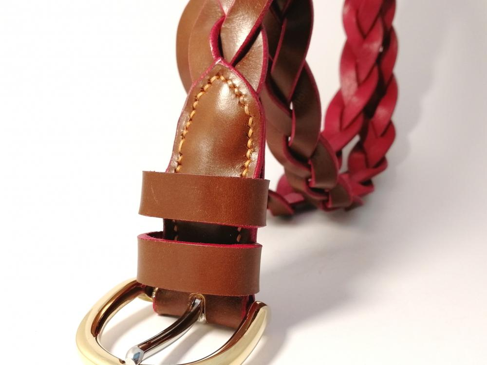 3-Strand Hand Plaited Leather Belt in Conker and Red