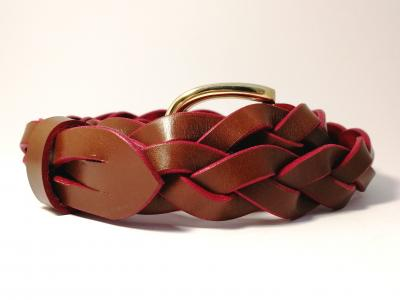 3-strand Plaited Belt in Conker and Red