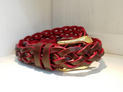 5-strand Plaited Belt in Burgundy and Red